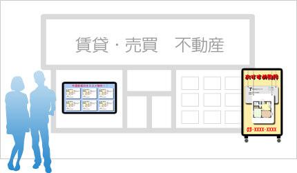 SNSサイネージを不動産に設置した例