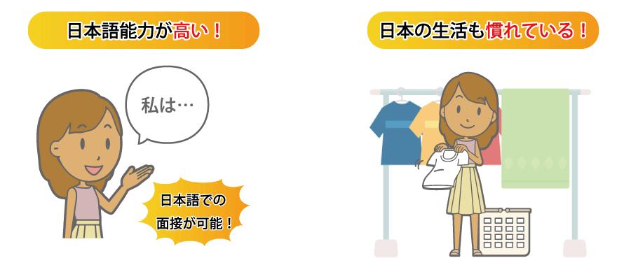 一度技能実習を経験しているので日本語能力が高い実習生がいます