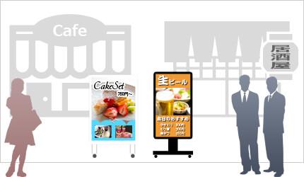 SNSサイネージを飲食店に設置した例