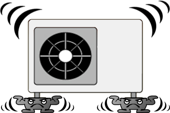 hmd-3020を設置して床下への振動や騒音を抑えたエアコン室外機