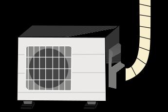 hmd-3020を脚の下に置いたエアコンの室外機